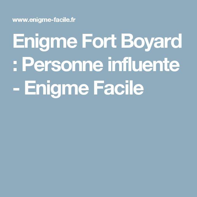 Enigme Fort Boyard : Personne influente - Enigme Facile