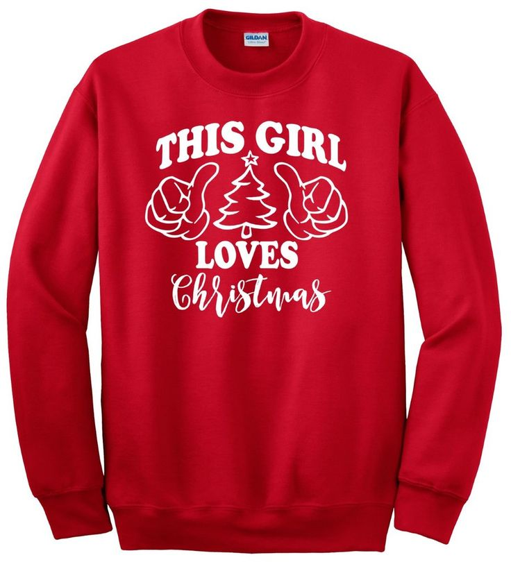 "Do you LOVE Christmas? Let everyone know with this red sweatshirt with white ""This Girl Loves Christmas"" print. Makes a great gift!  Printed on 50% cotton/50% polyester, pre-shrunk 8.0 ounce set-in sleeve sweatshirt. Double-needle stitching. Double-needle cuffs. Spandex blend 1x1 rib. christmas, christmas tree, ugly sweater, gift, gifts, holidays, womens, sweater, sweatshirt, tee, t-shirt, its your day clothing, christmas card, christmas cookies, wreath, its your day clothing"