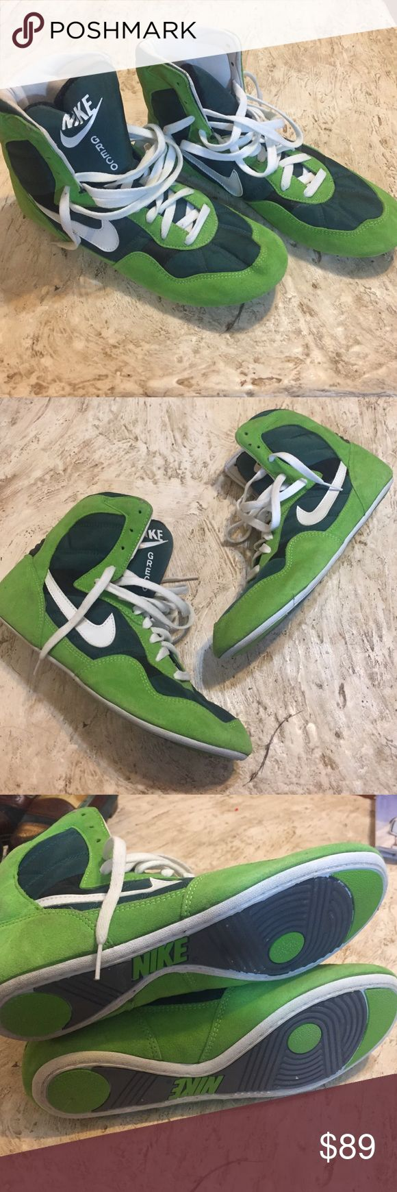 🎈NWOT Nike Greco Wrestling Shoes. Size 10 🎈NWOT Nike Greco Wrestling Shoes. Size 10.  Brand new. No box. Green suede and nylon high top wrestling shoes. Nike Shoes Athletic Shoes
