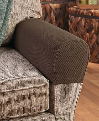 "Protect the arms of your sofa or chair with this Set of 2 Stretch Armrest Covers. They stretch to fit different sizes and shapes of armrests. They have an interesting pixel texture and a soft feel. 21"" x 4-1/2"" x 8"", each. Polyester and spandex. Machine"