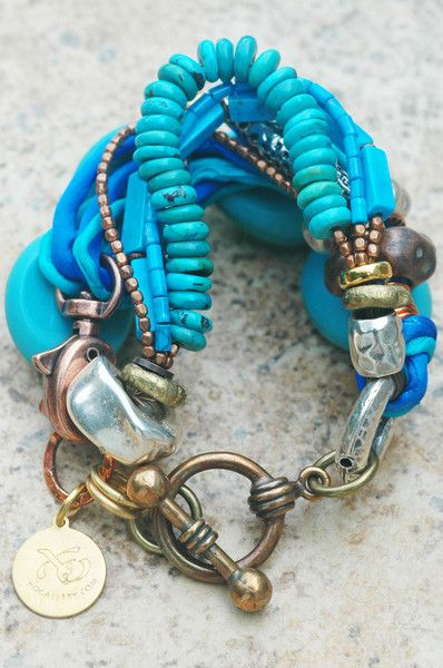 Mixed Media Blue Glass, Silk and Exotic Metals Multi-Strand Bracelet | XO Gallery