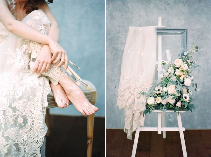 Lace Wedding Gown | Blue Watercolor wedding inspiration | Photography : yaroslavandjennyphotography.com/ | Read more #weddinginspiration on fabmood.com:
