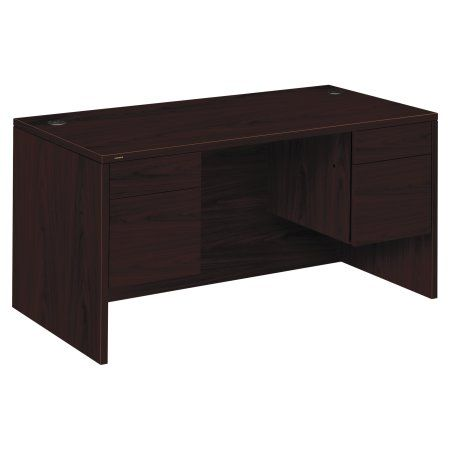 HON 10500 Series 3/4-Height Double Pedestal Desk, 60w x 30d x 29-1/2h, Mahogany, Brown