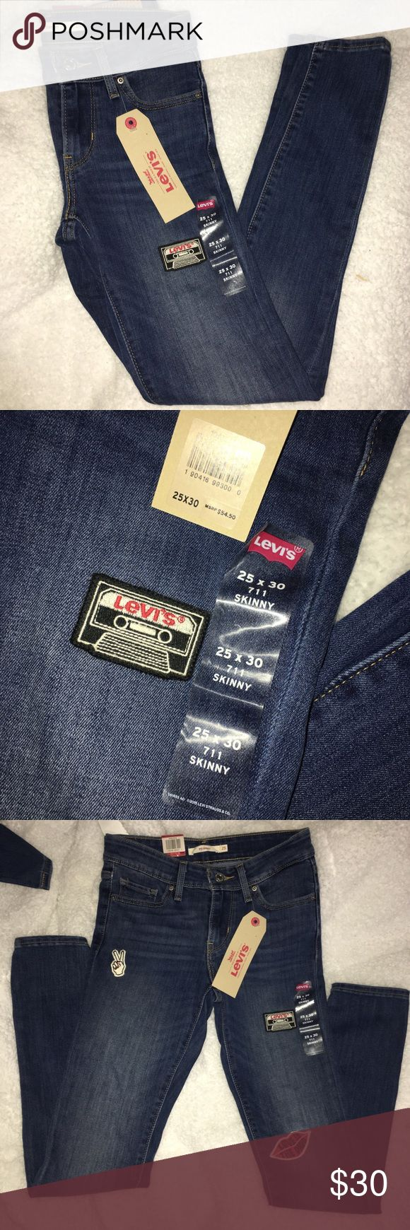 Levi's Skinny Jeans Size 25 711 levi's Skinny Jeans size 25 NWT has three patches on them as shown   mid rise   Will confer ANY offer! Levi's Jeans Skinny