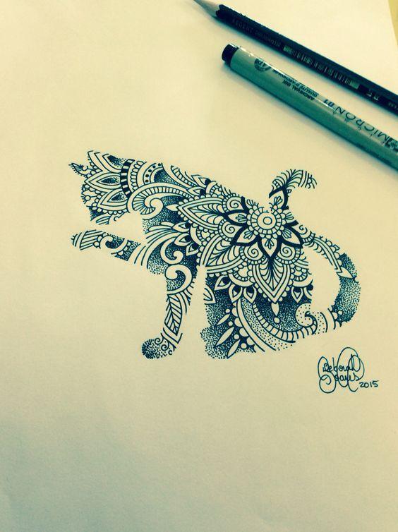 Mehndi, ornamented cat.  Artist: Deborah Deh Soares. Studio Lotus Tattoo…
