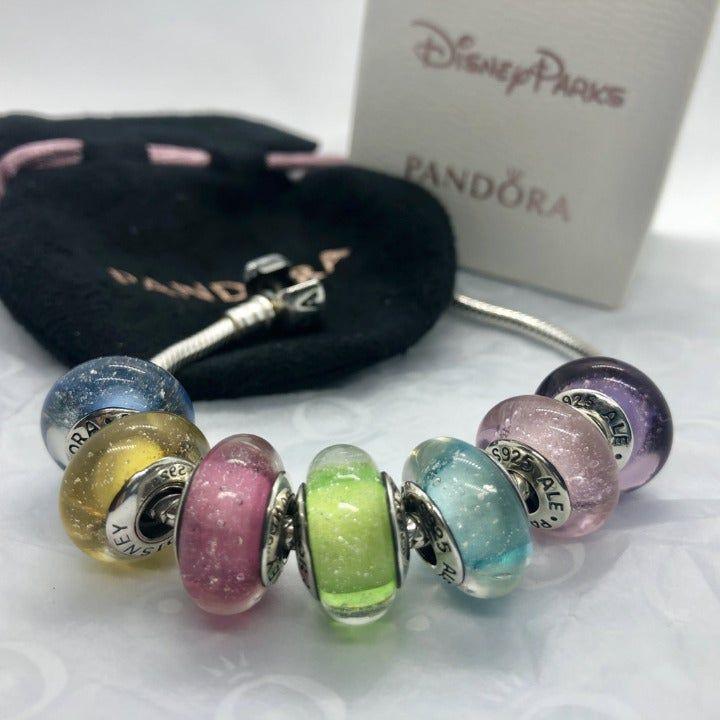 PANDORA Disney Princess Murano Glow Bead Set of 7 charms ...