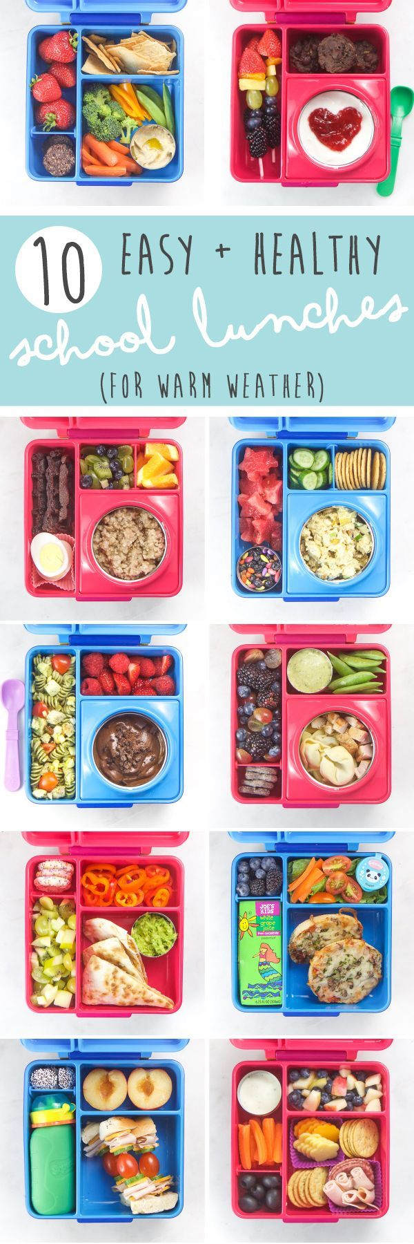 These 10 Easy + Healthy School Lunches for Warm Weather are our go-to school lunches that my kids love. Full of bright, colorful and healthy foods, these lunches are packed with taste as well as nutrients to keep your kids healthy and full all day long!