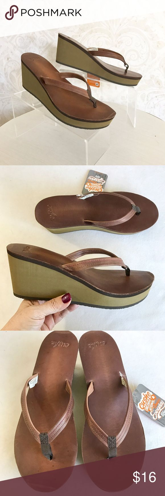 "Cushe brown leather wedge heel flip flop sz 10 A flip flop with some oomph! Thong sandal with brown leather upper. Anatomical ""last shape"" molded EVA compound wedge and platform for comfort and support. Brown leather footbed. Durable synthetic outsole. NWT; never worn. Cushe Shoes Sandals"