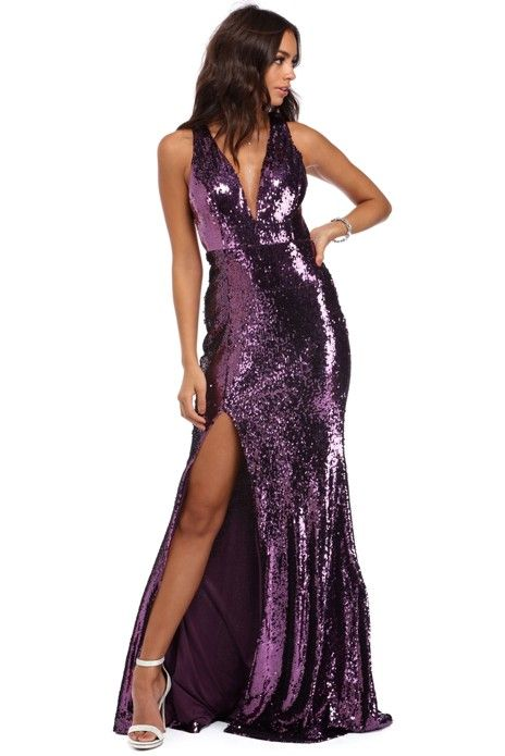 Gwen Purple Sparkling Sequin Dress | WindsorCloud
