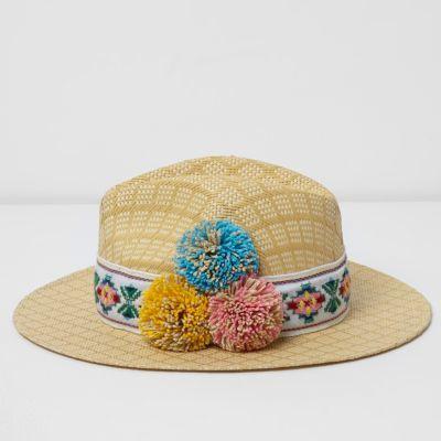 River Island Womens Beige pom pom straw fedora hat