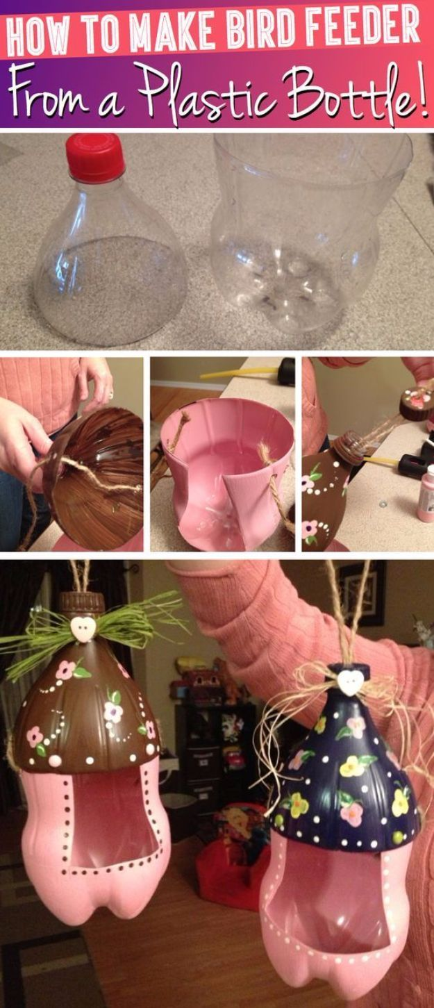 Cool DIY Projects Made With Plastic Bottles - Cute Bird Feeder From A Plastic Bottle - Best Easy Crafts and DIY Ideas Made With A Recycled Plastic Bottle - Jewlery, Home Decor, Planters, Craft Project Tutorials - Cheap Ways to Decorate and Creative DIY Gifts for Christmas Holidays - Fun Projects for Adults, Teens and Kids http://diyjoy.com/diy-projects-plastic-bottles