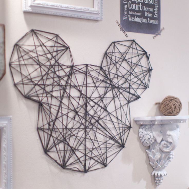 How To Make A Twine Mickey Wall Art Mckenna Reynolds Quinn Reynolds Shannon Disney Home Decordisney