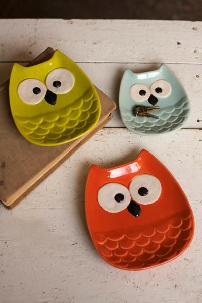 set of three owl plates                                                                                                                                                                                 More