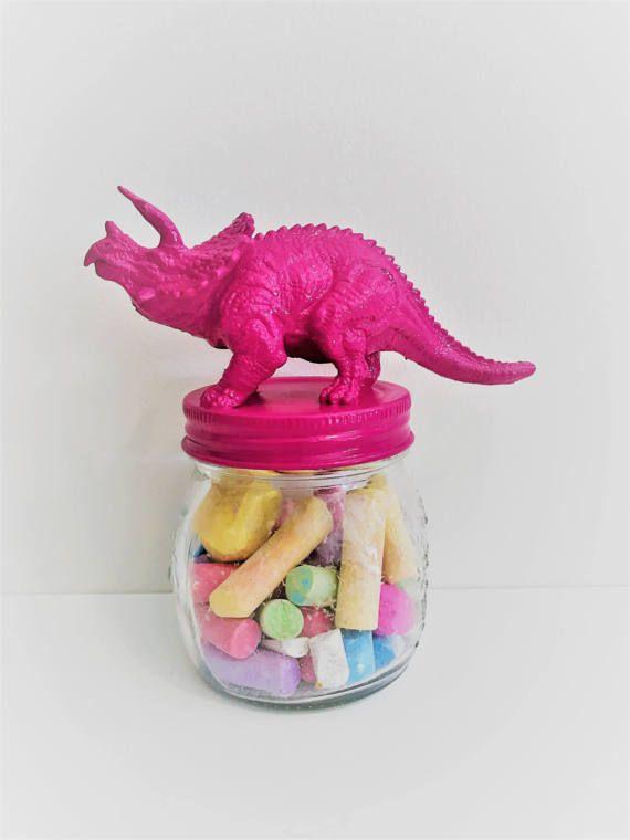 Pink Triceratops Mason Jar Topper // Home Storage Décor // Jar
