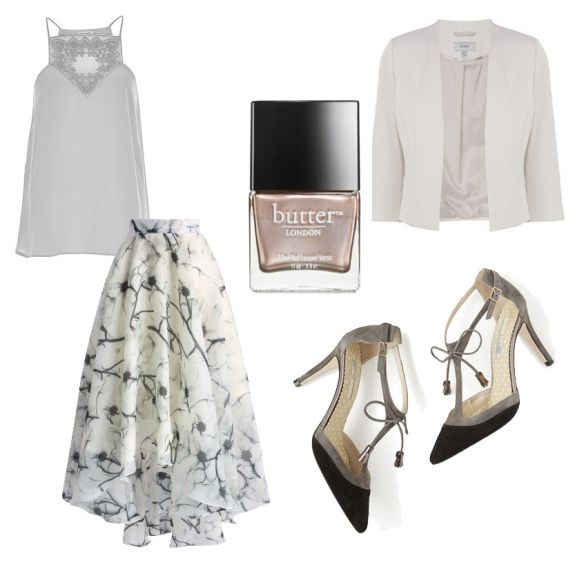 Grey wedding guest outfit