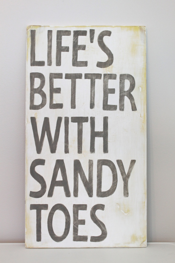 Life's Better with Sandy Toes Wood Wall Art, Sign, Vintage Style, Quote by InMind4U