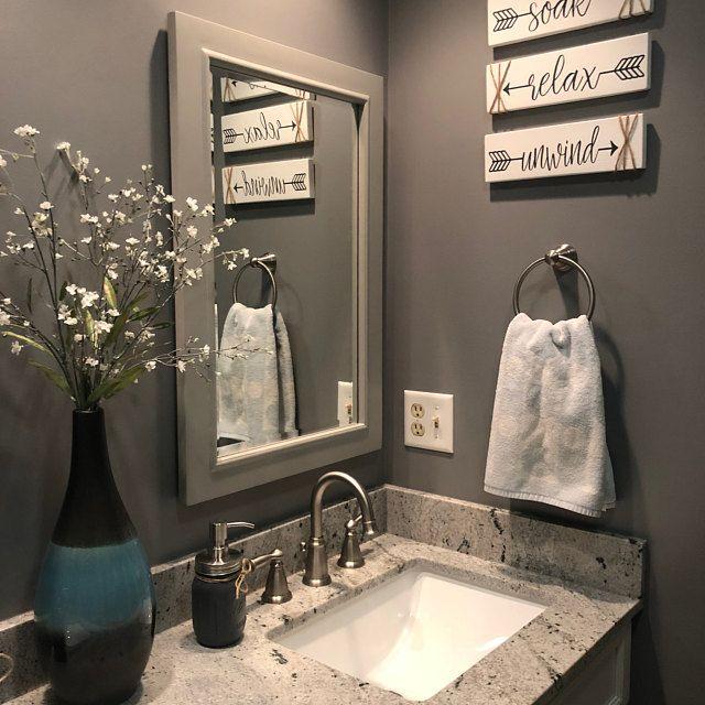 Bathroom Wall Decor Soak Relax Unwind Farmhouse Decor Etsy In 2020 Bathroom Decor Bathroom Wall Decor Diy Bathroom