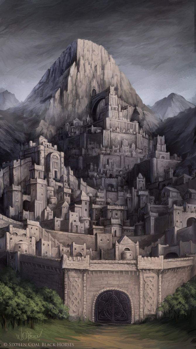 A fortified dwarven city  built on the side of a mountain.  (c) Sixteen Coal Black Horses
