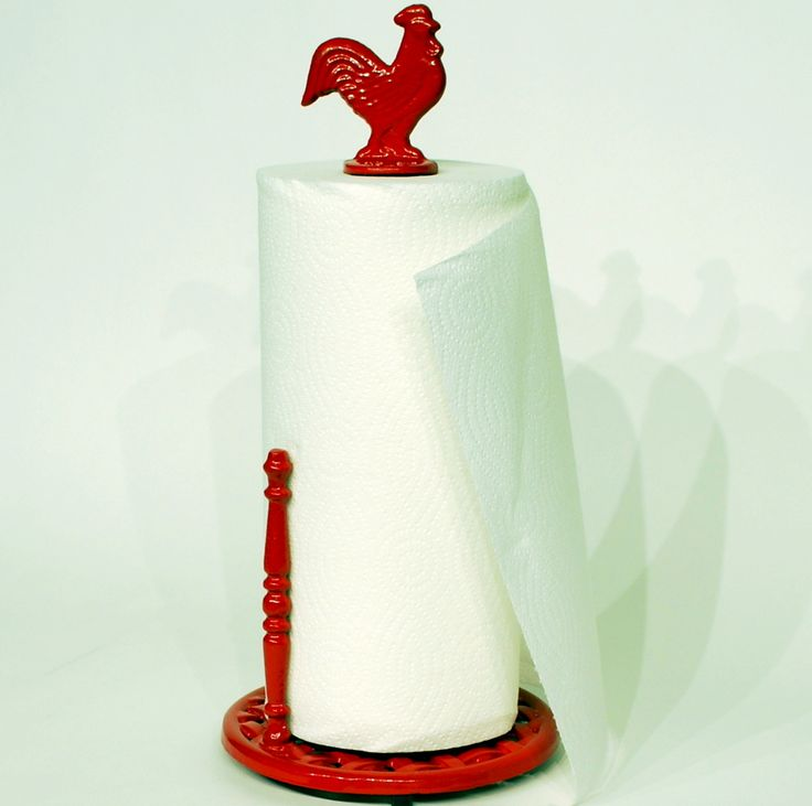 Cast Iron Red Rooster Towel Holder