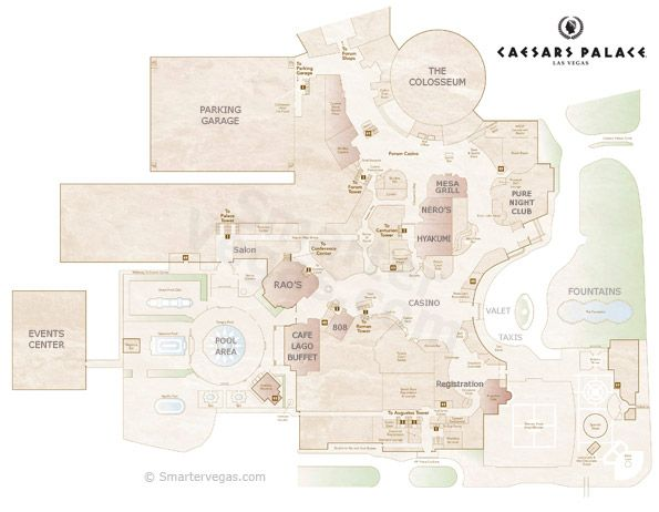 Caesars palace casino property map floor plans las for Room design map