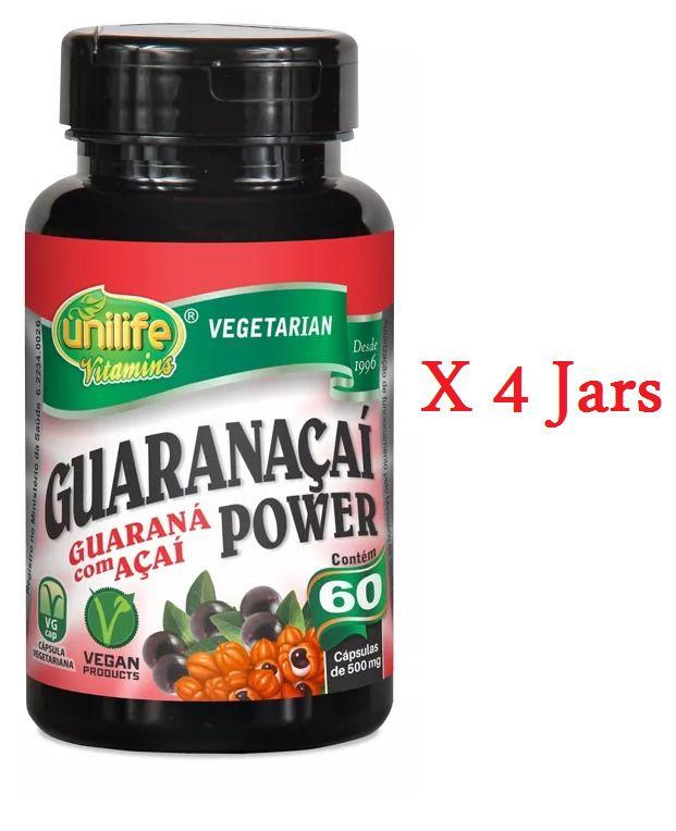 Guaranacai Power 500mg Guarana with  Acai Berry Extract  60 Capsules  #UNILIFE