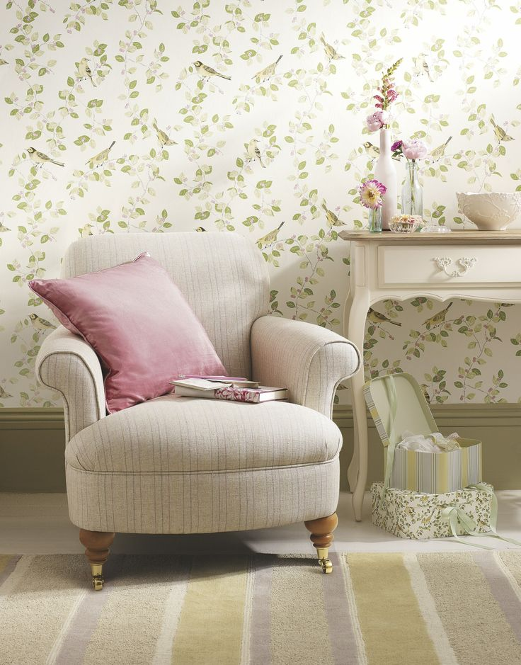 Whitby check tablecloth contemporary interior design for Pink living room wallpaper
