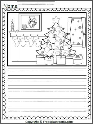 Free Christmas Color And Write Page.