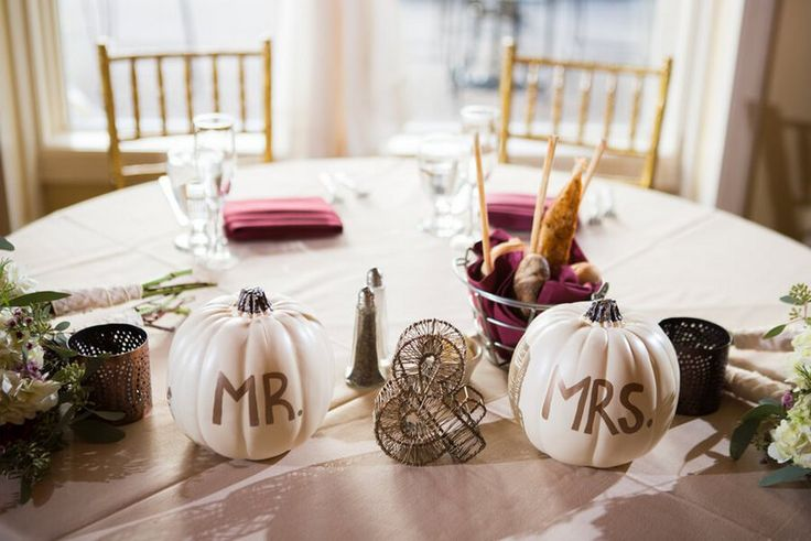 outdoor rustic fall wedding - mr and mrs pumpkins