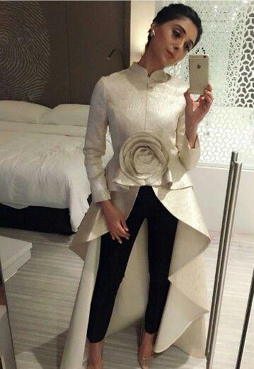 Pernia Qureshi wearing Off White Vineet Bahl Long Overcoat Dress