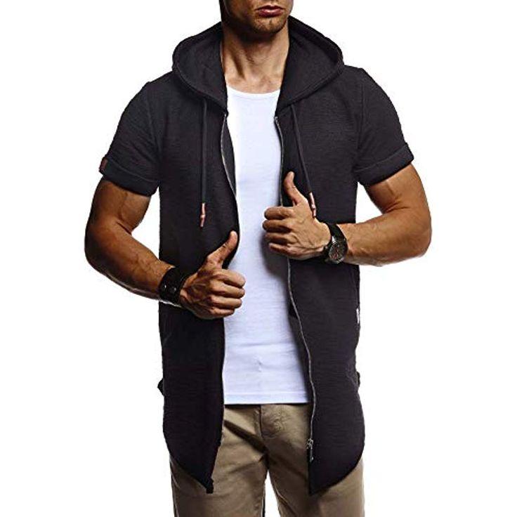 LEIF NELSON Herren Sommer Jacke mit Kapuze Sweatjacke T-Shirt Slim Fit Basic Bau…