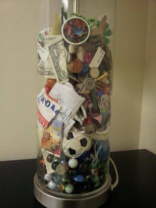 A mother kept items from her sons pockets for years and presented the lost treasures as a wedding gift. I love this!!