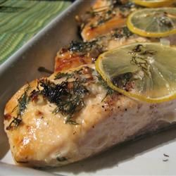 Salmon with Lemon and Dill - I make this all the time! Although I bake it wrapped in tin foil, it steams it, and it tastes better to me.