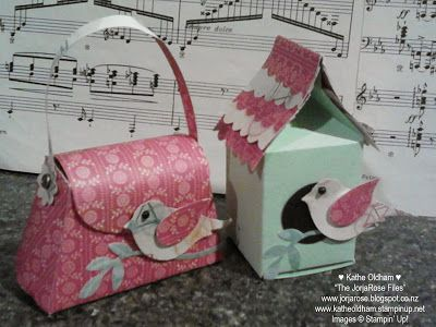 By Kathe Oldham, a Bird House and matching Petite Purse. The Bird House is made using the Stampin' Up! Mini Milk Carton die, and the Dress Up Framelits for the scallops on the roof!