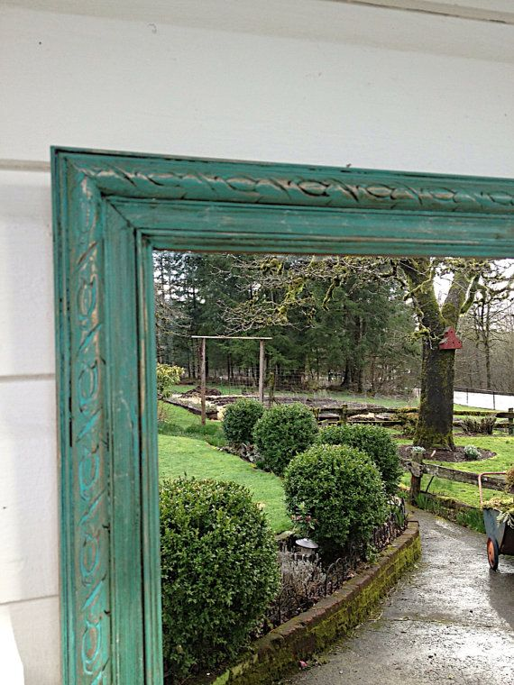 turquoise blue chalk paint mirror vintage rectangle rustic shabby cottage chic bathroom mirror on etsy antique dresser framed leaning mirror shabby chic