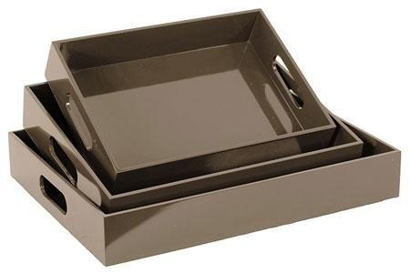 Wooden Tray - Set of Three Colour: Grey