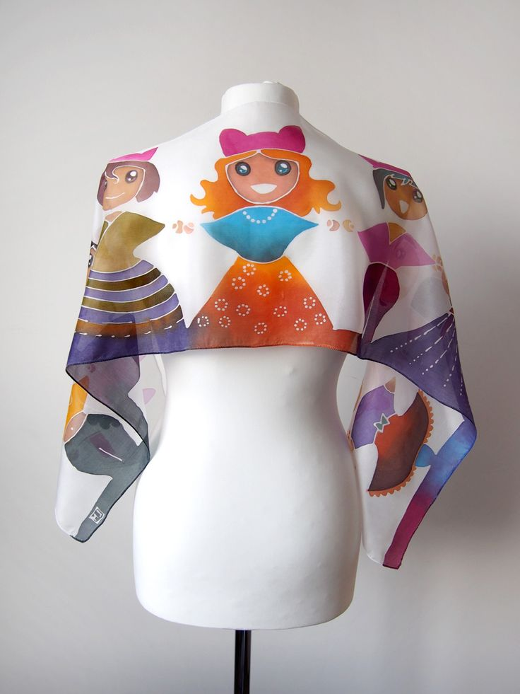 Pink Pussyhat Girls silk scarf hand painted as a gift on the Womens Right March in US by Luiza Malinowska #minkulul