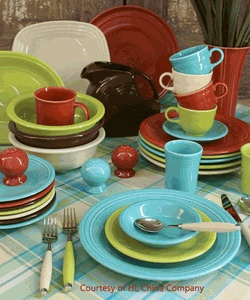 Fiesta® Dinnerware was designed by Frederick Hurten Rhead in 1936 and is now among   the most collected china products in the world. As originally designed, the line featured art deco   styling and bold, bright colors. The product was discontinued in 1973 and reissued in 1986 with  new contemporary colors to mark its 50th anniversary.