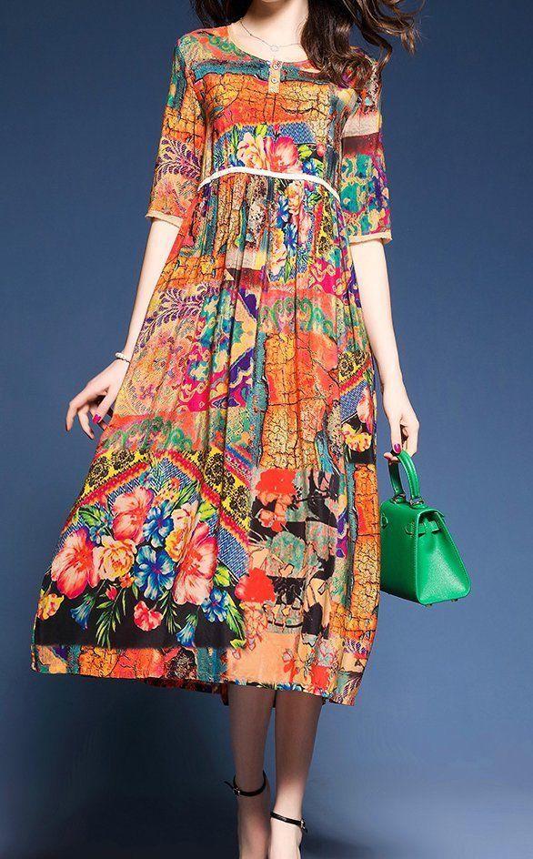Women loose fitting over plus size Bohemian Boho flower dress long silk tunic #Unbranded #dress #Casual