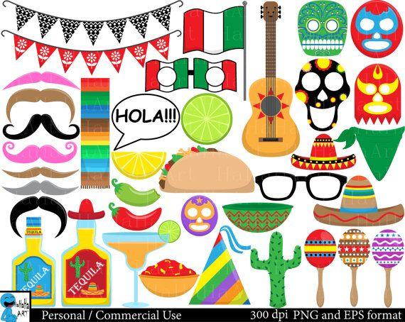 Fiesta Props Set Clipart  Digital Clip Art Graphics by HaHaHaArt