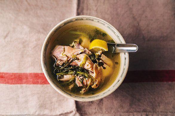 鶏肉とクレソンのスープ