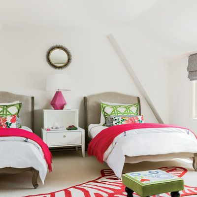 A Childrenu0027s Bedroom With Mixed Patterns And Colors That Complement Each  Other And Make The Room