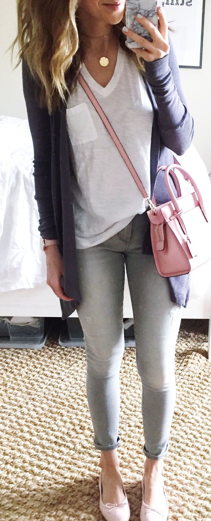 #summer #outfits Navy Cardigan + White Tee + Grey Skinny Jeans