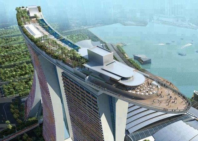 the Marina Bay Sands hotel in Singapore - most amazing hotel with a breathtaking infinity pool!  :)