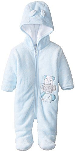 Fully lined Full front zip Microfleece ABSORBA Baby-Boys Newborn Elephant Fuzzy Footie