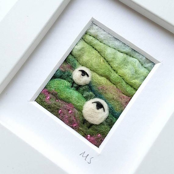 Tilly Tea Dance textile artist miniature sheep landscape in felting and embroidery https://www.etsy.com/uk/listing/483261928/sheep-and-landscape-scene-miniature