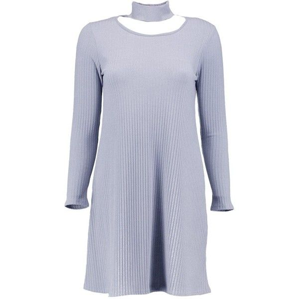 Boohoo Ella Choker Neck Detail Rib Knit Swing Dress | Boohoo ($16) ❤ liked on Polyvore featuring tops, sweaters, nordic sweater, party jumpers, turtle neck sweater, chunky turtleneck and turtle neck top
