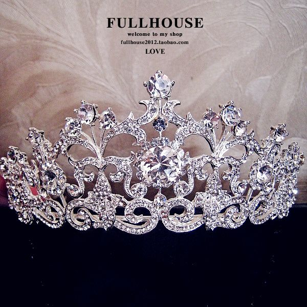 $25 18K White Gold Plated Vintage Rhinestone Bridal Tiara Wedding Hair Accessories Crystal Pageant Crowns Wedding Tiaras and Crowns-inHair Jewel...