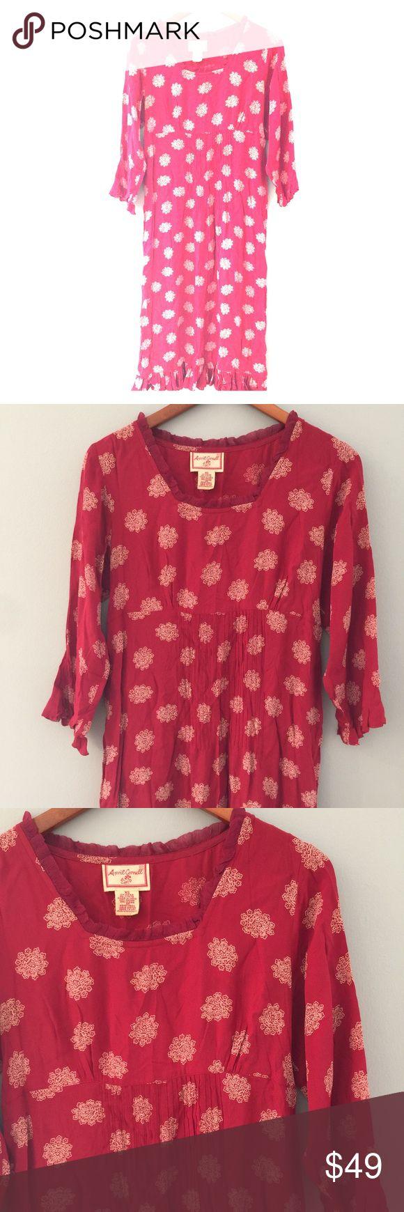 "April Cornell Lotus Print Midi Dress 100% Rayon. Bust 39"", length 47"". Pullover style April Cornell Dresses Midi"
