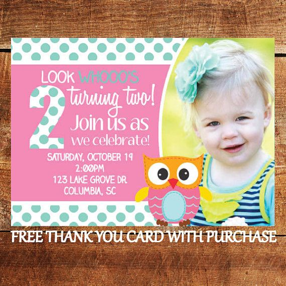 Printable Owl Birthday Invitation - Look Whos Turning Two Party ...