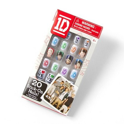 Flaunt your 1D love on your fingertips! One Direction Stick-On Nails. I do believe this will be on my Christmas wish list!